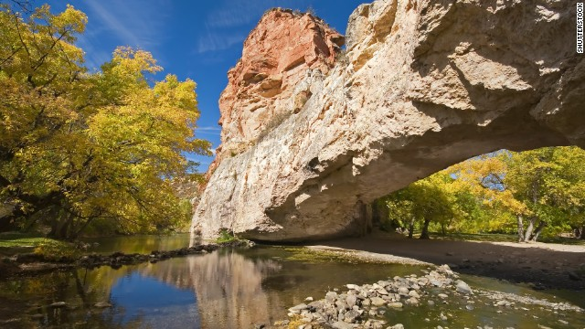 Less famous than its bigger national park cousins (Yellowstone and Grand Teton), Wyoming's Ayres Natural Bridge State Park offers a respite for visitors in the know.