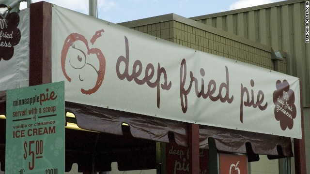 "Just as the sign says, the State Fair's version of apple pie involved ""100% deep fried goodness."""