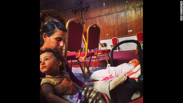 "ANKAWA, IRAQ: ""Iraqi Christians taking shelter in a church in Kurdistan. Ihlas and her forty day old son Yishua have spent the last 2 nights sleeping in St Joseph's Church in Ankawa with her daughter Jowan after they fled ISIS militants."" - CNN's Ivan Watson, August 8. Follow Ivan (<a href='http://instagram.com/ivancnn' target='_blank'>@ivancnn</a>) and other CNNers along on Instagram at <a href='http://instagram.com/cnn' target='_blank'>instagram.com/cnn</a>."