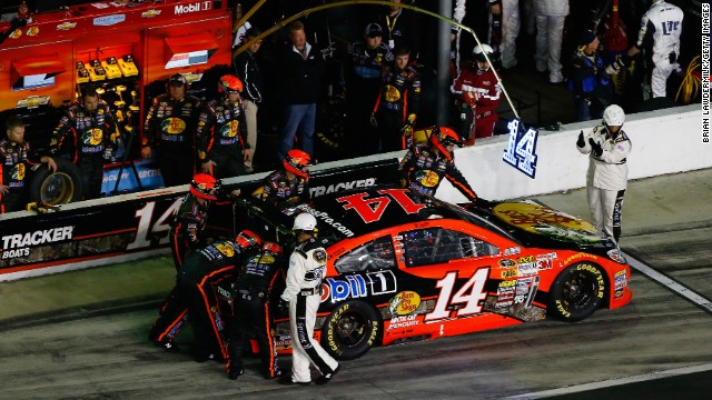Stewart in the pit during the NASCAR Sprint Cup Series Daytona 500 at Daytona International Speedway on February 23 in Daytona Beach, Florida