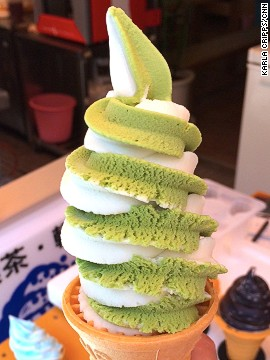 Wherever you are in Japan, a pit stop at one of the many soft serve ice cream stands is a must. The vanilla and matcha green tea swirl cones are particularly addictive.