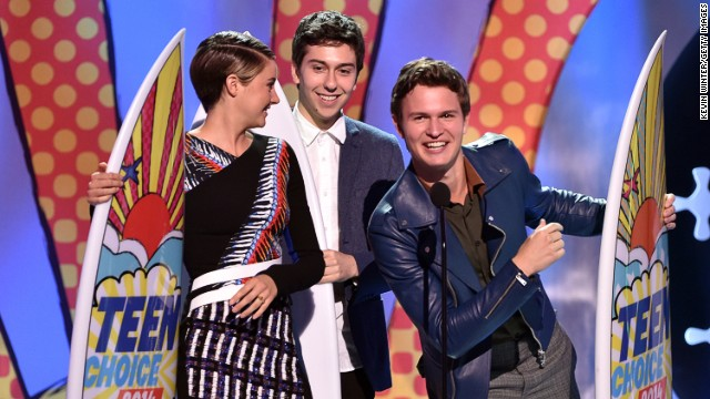 Shailene Woodley, Nat Wolff and Ansel Elgort won the Teen Choice Award for movie chemistry with