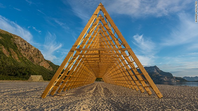 Norway and other Arctic regions are known for their fishing culture. Colossal fish racks (pictured) will serve as performance spaces during the festival.