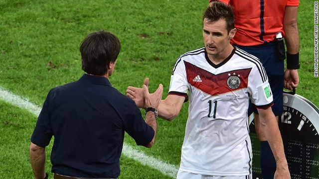 Miroslav Klose (right) scored 16 goals in four World Cup finals for Germany including two at Brazil 2014.