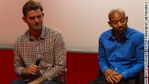 Garrett Combs, left, and Delon Beckett this month at a screening of \