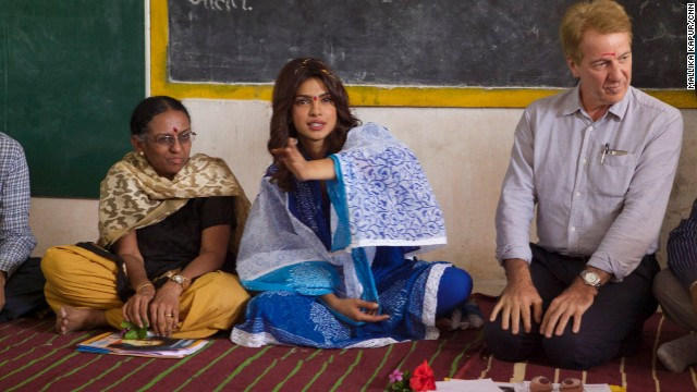 The girls of Dongri village get a surprise visitor on World Youth Day -- Bollywood superstar and UNICEF goodwill ambassador Priyanka Chopra (center).