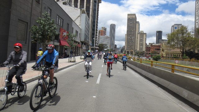 Only 5% of Bogota's journeys involve bikes, but the city makes our list in recognition of its efforts to change. Each Sunday, 70 miles of street close down to vehicles to give way to pedestrians and bikes.
