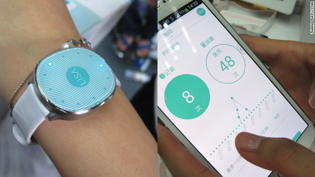 TechCrunch Beijing showcases some of China's most innovative start-ups. During the two-day event, which ended on Tuesday, participants took part in a Silicon Valley-style pitch competition with products such as this smart watch designed for pregnant women to help them keep track of their baby's kicks.