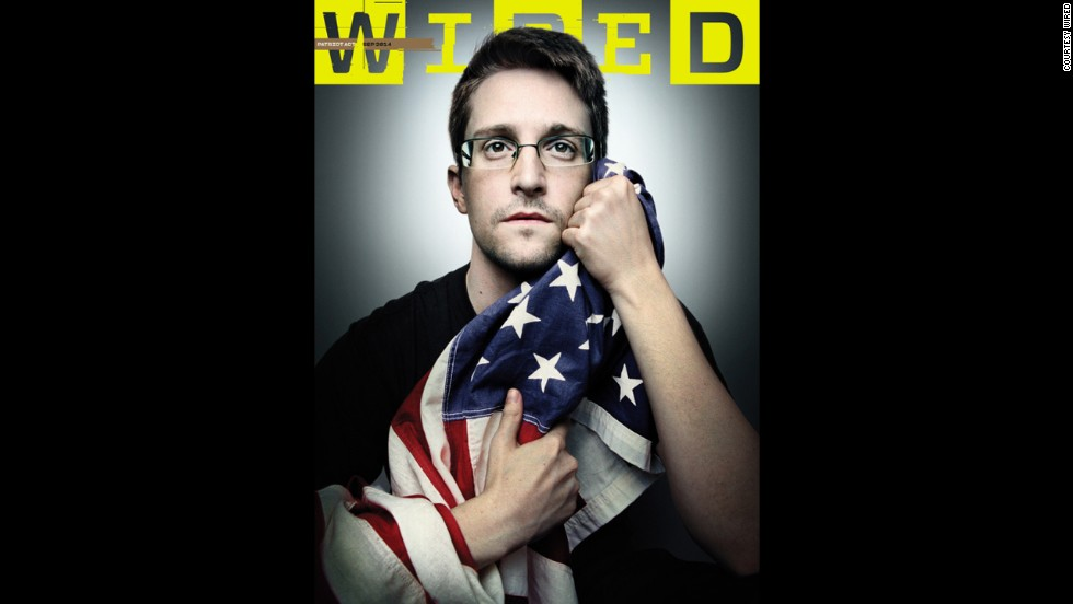 <a href='http://money.cnn.com/2014/08/13/media/edward-snowden-wired-cover/'>Wired magazine has published a cover photo of NSA leaker Edward Snowden</a> holding the American flag in both of his hands, as if protecting it from the government. Click through the gallery to look at some other controversial magazine covers through the years: