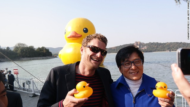 The artist has garnered celebrity fans. Jackie Chan joined Hofman in Beijing to throw a farewell party for the popular duck when it left to float on to another city.