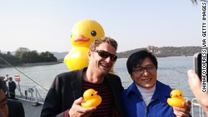 Hofman and Jackie Chan prove that you\'re never too old for rubber ducks.