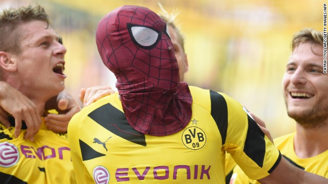 Pierre-Emerick Aubameyang pulled on a Spider-Man mask after scoring Dortmund's second of the game.