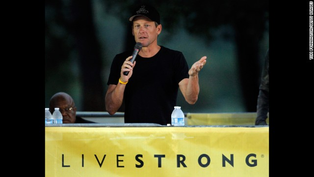 Armstrong addresses participants at the Livestrong Challenge Ride on October 21, 2012, days after he stepped down as chairman of his Livestrong cancer charity.