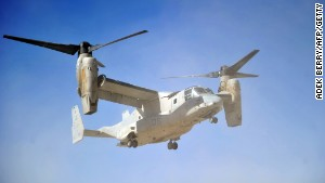 A Marine is lost at sea after bailing out of a MV-22 Osprey.