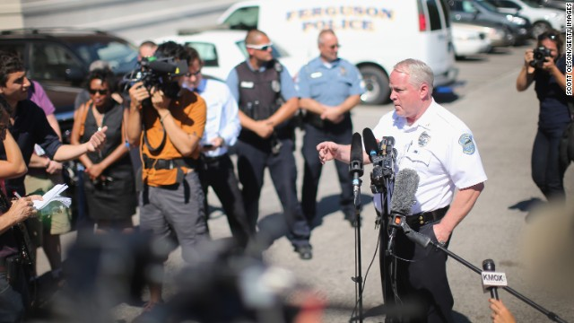 Ferguson Police Chief Thomas Jackson fields questions during a news conference on August 13.