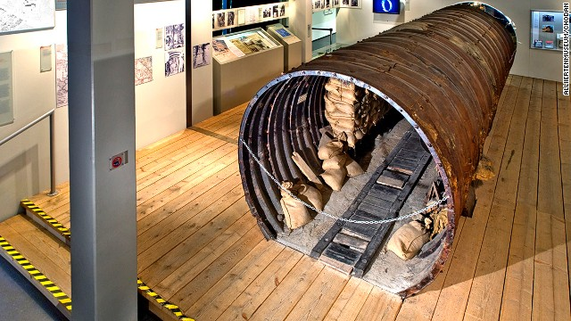 Allied forces dug a spy tunnel under the Berlin Wall to tap East German telephone lines in 1953. A stretch of the tunnel is on display in the city's Allied Museum.