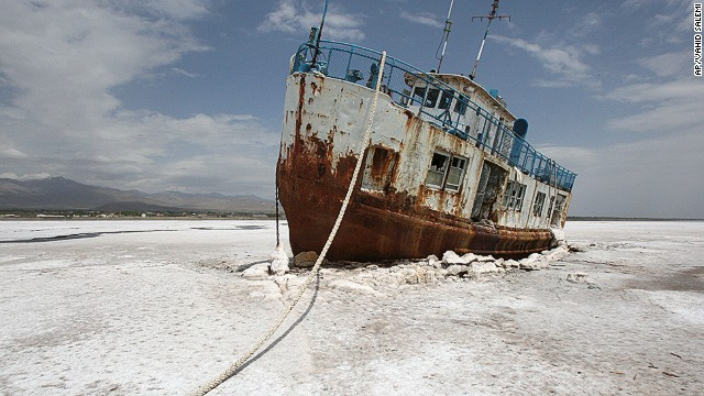 Lake Urmia, once one of the world's largest salt lakes, has almost completely dried up.