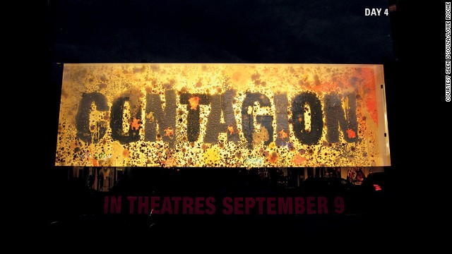 To promote the movie Contagion in 2011, scientists used large petri dishes to grow live bacteria. These cultures, including penicillin, mold and pigments, grew to spell out the name of the movie