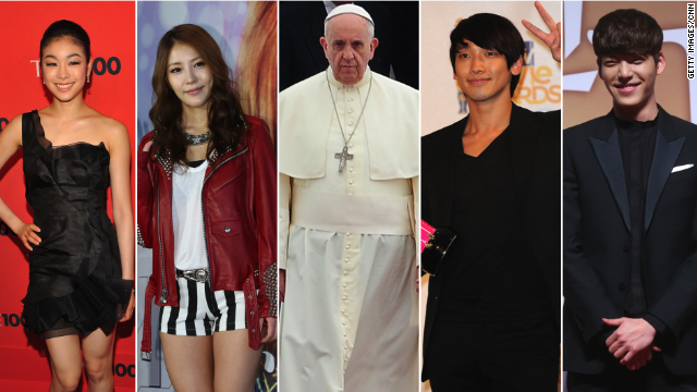 Star power, from left to right: Kim Yuna, BoA, Pope Francis, Rain, Kim Woo-bin