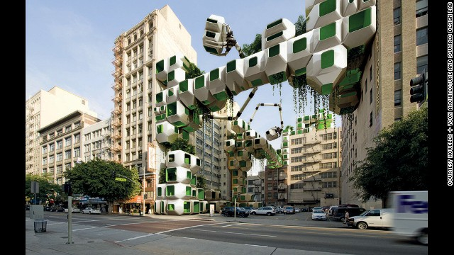 Will bacteria solve our world problems? Biodesign looks to be a key factor in reaching global sustainability. Architects Howeler + Yoon and Squared Design Lab have imagined a future where derelict building will be covered in pods that grow biofuel algae.
