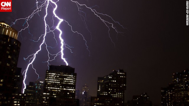 """'As the storm neared, the lightning intensified, lighting up the sky nearly once a second,"" said <a href='http://ireport.cnn.com/docs/DOC-616745'>Jim Clouse</a>, who witnessed lightning striking downtown Boston in June 2011."
