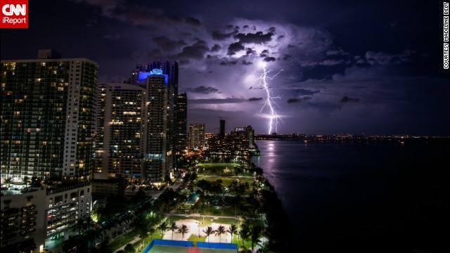 """I was really surprised I was able to capture a lightning strike like this,"" said <a href='http://ireport.cnn.com/docs/DOC-1149081'>Madeline Belt</a>, who shot this photo off Biscayne Bay in Miami in June. The storm would later become Hurricane Arthur."