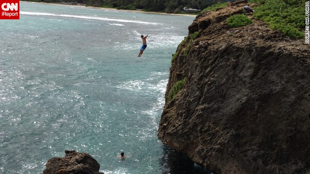 Feeling daring? Oahu's <a href='http://www.hawaiistateparks.org/parks/oahu/index.cfm?park_id=25' target='_blank'>Laie Point State Wayside</a> has cliffs from which daredevils often jump. <a href='http://ireport.cnn.com/docs/DOC-1094509'>Gail Powell</a> says she enjoyed taking this photo but wasn't interested in taking the plunge herself.