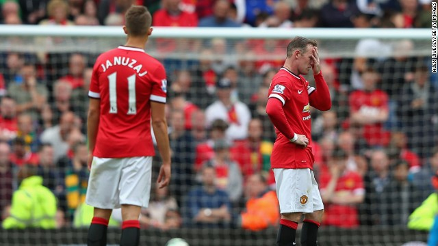 Wayne Rooney of Manchester United looks dejected during the Barclays Premier League match between Manchester United and Swansea City at Old Trafford on August 16, 2014.