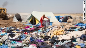 Displaced Yazidis in a refugee camp in Kurdistan.