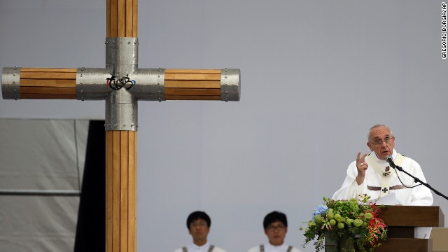 Francis delivers his message as he celebrates Mass in Haemi on August 17.