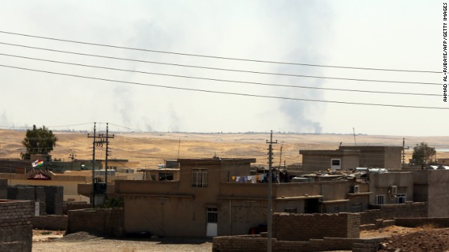 Smoke rises near Mosul after a U.S. airstrike near the dam on August 17.