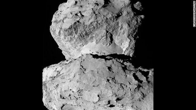 This image, captured August 7, shows the diversity of surface structures on the comet's nucleus.