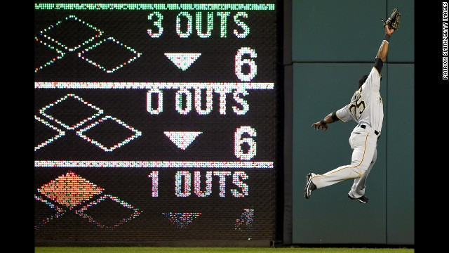 Gregory Polanco of the Pittsburgh Pirates makes a leaping catch Friday, August 15, in Washington.
