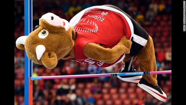 Cooly the mascot performs a high jump Thursday, August 14, at the European Athletics Championships in Zurich, Switzerland.