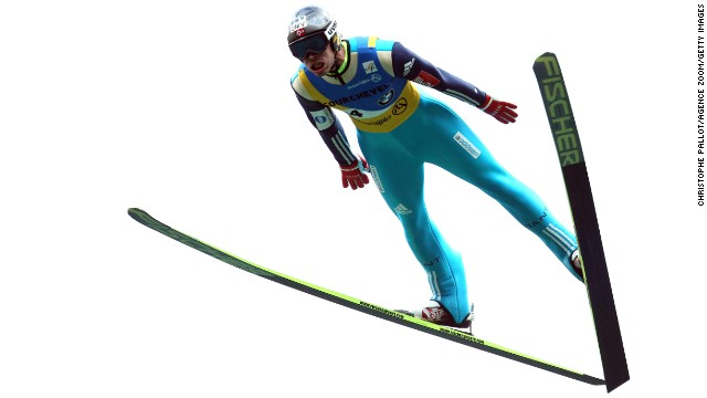 Andreas Stjernen of Norway takes first place in the FIS Ski Jumping Grand Prix held Friday, August 15, in Courchevel, France.