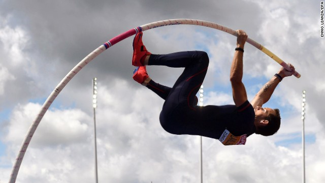 France's Renaud Lavillenie competes in pole vault qualifying Thursday, August 14, at the European Athletics Championships in Zurich, Switzerland. He would go on to win gold in the event.