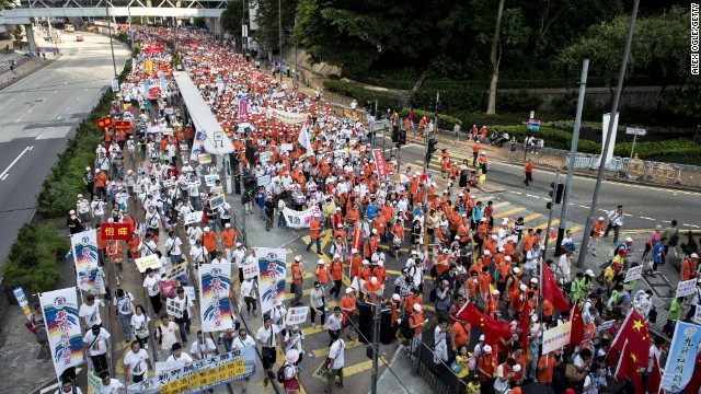 Tens of thousands rally in Hong Kong