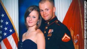 Erin Corwin and her husband, Jonathan Wayne Corwin, a corporal in the U.S. Marine Corps, in an undated photo.