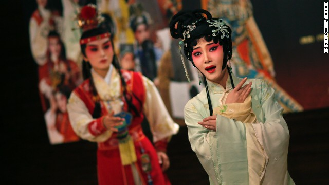 "AUGUST 19 - TAIPEI, TAIWAN: An actress rehearses a scene from the Chinese opera ""A Dream of Red Mansions"" at the National Theater on August 18. The piece, written by author Cao Xueqin in the second half of the 18th century, is known as one of the greatest achievements in Chinese literature. Its opera adaptation will be performed from 19 - 24 August in the city."