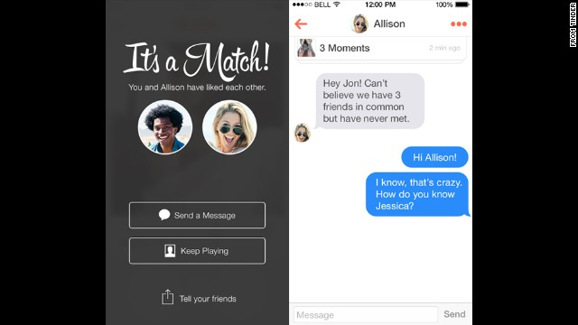"Fast-growing app Tinder lets users build profiles by importing photos and interests from their Facebook accounts. The app will then produce nearby matches -- possibly even down your street or across the bar -- fitting your search criteria. Users swipe right if they're interested and left if they want to reject the match. If both parties swipe right, ""it's a match!"" and they can communicate from there."