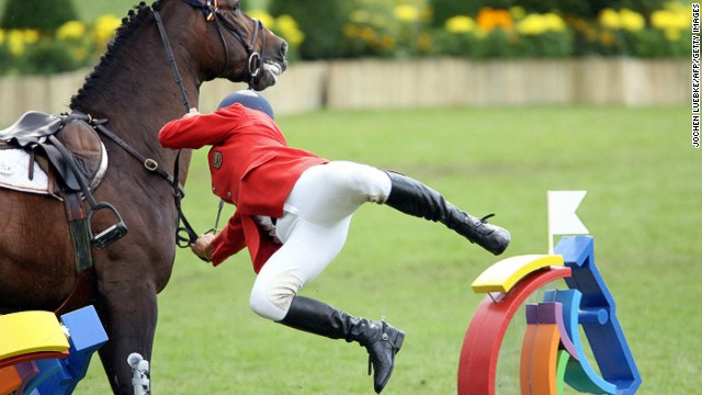 Not all eventers have it so lucky -- expect more tumbles like this one endured by Colombian rider Manuel Torres. If you fall during the cross-country phase, you are eliminated from the tournament.
