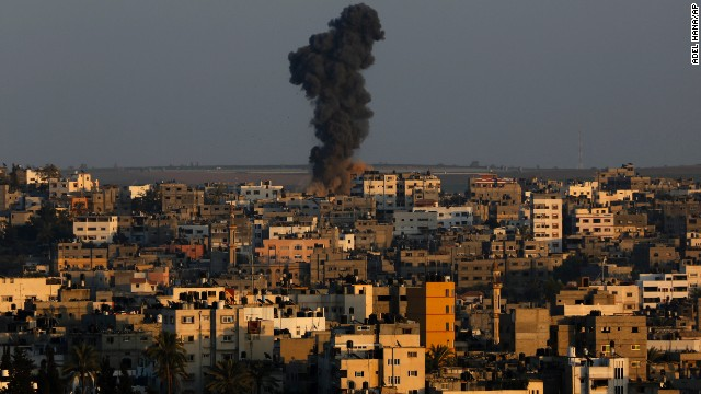 Smoke rises after an Israeli airstrike on Gaz