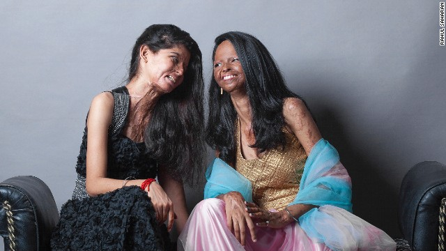 Ritu (L) and Laxmi live in Chavvn, one of the few shelters for acid attack survivors in India.
