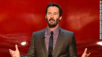 Keanu Reeves speaks onstage during Spike TV's 'Guys Choice 2014' at Sony Pictures Studios on June 7, 2014 in Culver City, California.
