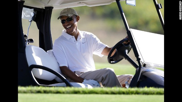 President Barack Obama plays a round of golf Wednesday, August 20, at Vineyard Golf Club in Martha's Vineyard, Massachusetts. Here's a look at how Obama and other presidents have escaped from the pressure of the Oval Office.