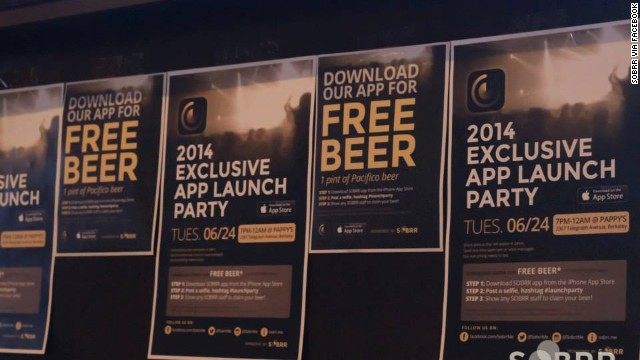 Sobrr's launch party in June offered free beer, appropriate for an app that helps hide the evidence of users' wild nights out.