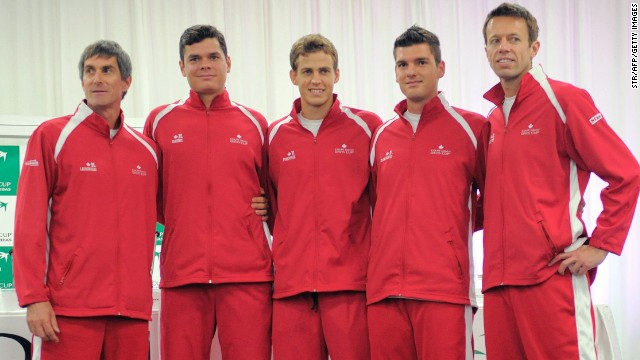Raonic, Pospisil and Nestor are likely to be playing at the year-end championships, in either singles or doubles, just like Bouchard. The trio are seen here ahead of a Davis Cup series, joined by captain Martin Laurendeau, far left, and Frank Dancevic, second from right.
