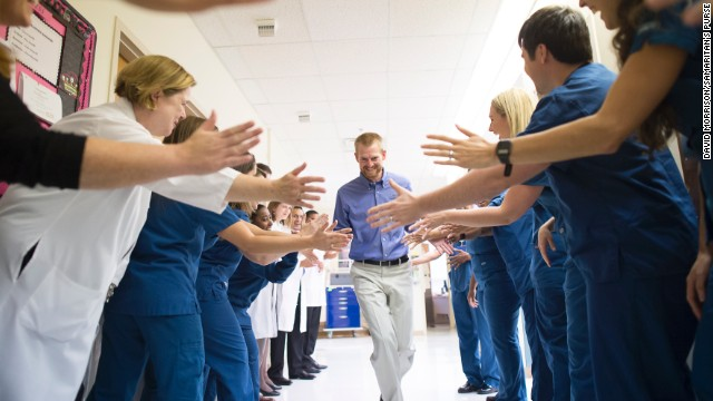 Dr. Kent Brantly leaves Emory University Hospital on Thursday, August 21, after being declared no longer infectious from the Ebola virus. Brantly was one of two American missionaries brought to Emory for treatment of the deadly virus, which has killed more than 1,350 people in West Africa since March, according to the World Health Organization.