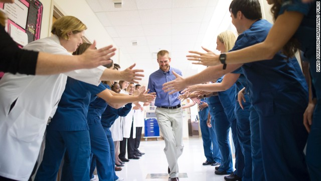 AUGUST 22 - ATLANTA, GEORGIA: <a href='http://cnn.com/2014/08/21/health/ebola-treatment-drug/index.html'>Dr. Kent Brantly</a> leaves Emory University Hospital on August 21 after he was declared as being no longer infected by the deadly Ebola virus. <a href='http://cnn.com/2014/08/21/health/ebola-treatment-drug/index.html'>More than 2,400 people </a>have been infected by the virus, according to the World Health Organization, and it has killed more than half.