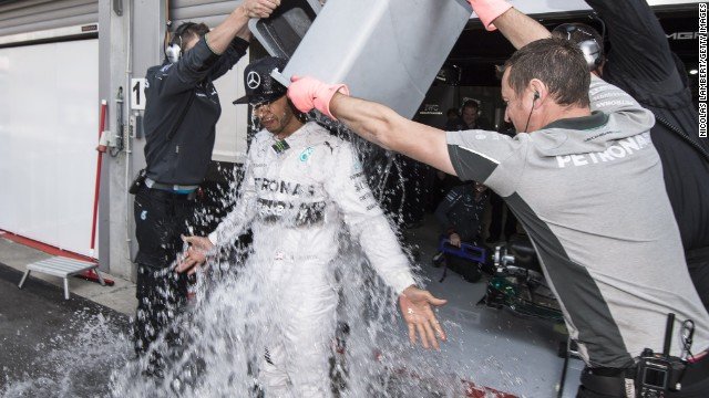 Lewis Hamilton took the ALS bucket challenge before stealing the show at Friday's practice ahead of the Belgian Grand Prix.